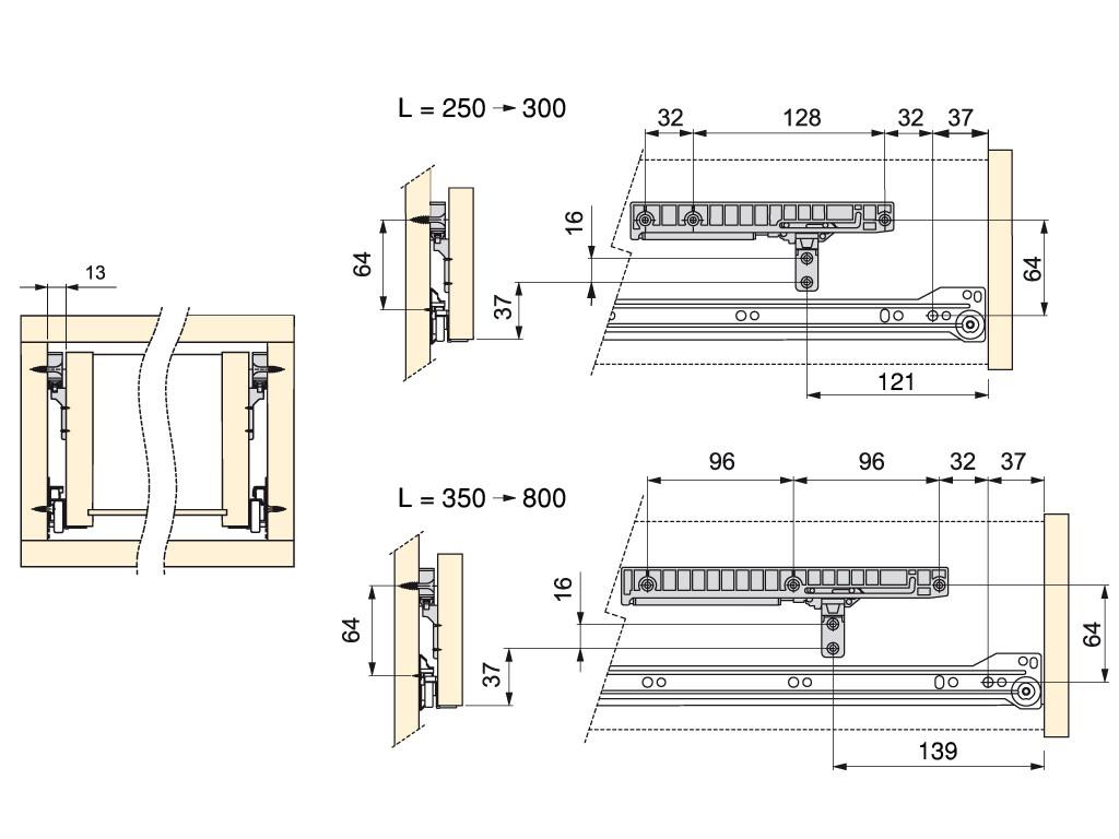 UBLAŽIVAČ ZA MEKO ZATVARANJE DRVENIH LADICA 350 – 500 mm