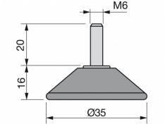 NOGICA NIVELIRNA M6x36 D-35 CRNA