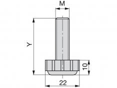 NOGICA NIVELIRNA M8x38 CRNA